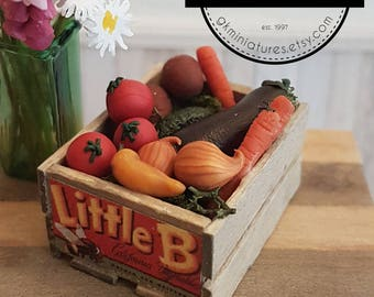 miniature veggie crate (1:12 scale polymer clay food)