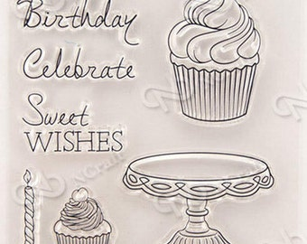 Cupcakes clear Rubber Stamp Set w/ cake stand ,candle, cup cake, happy birthday, birthday, celebrate