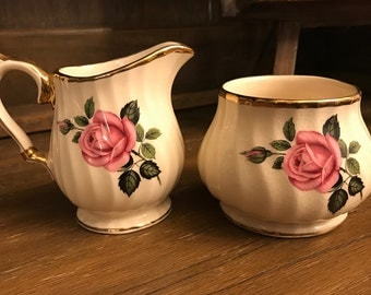 Vintage Sadler Creamer and Sugar Bowl - Pink Rose - Gold Trim - Ribbed - Made In England - Shabby Chic - 2795