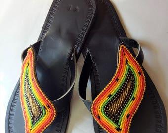 Leather sandals, African sandals, Maasai sandals, Summer shoes, beaded sandals, sandals, orange sandals,maasai shop, flip flops, thongs