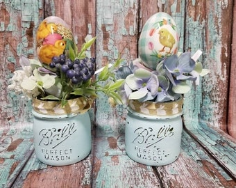 Blue Shabby Chic Distressed Ball Mason Jars Easter Decor Vintage Rustic Flowers Easter Eggs Bunny Ribbon