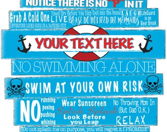 Customizable Pool Rules Sign - DIGITAL PRINTABLE Pool Signs - Deck Sign - Funny Pool Signs - Don't Pee In The Pool - Poolside Humor - Pool