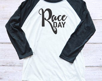 Race Day Shirt - 3/4 Length Sleeve Race Day Shirt - Racing Mom - Motocross - BMX - Go Kart Mom - Nascar - Race Fan Shirt - Racing Family