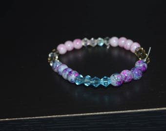 Pink and Purple Marbled Bracelet