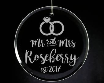First Married Christmas Ornament, Engraved Glass Ornament, Wedding Gift, Newlyweds, Mr and Mrs, First Christmas Together, Married 2017
