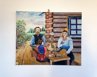 oil painting signed Alexander Lyoubovin - dated 1950 - Russian peasants at tea time