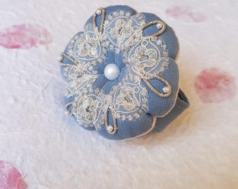 Linen and Liberty London fabric pin cushion for wrist, with antique beaded embellishment
