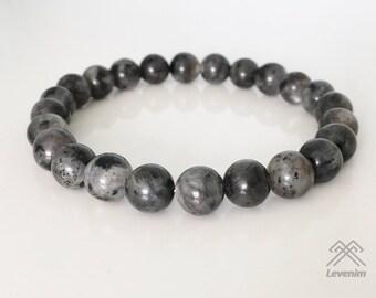 Larvikite bracelet - Mens bracelet - Unisex bracelet - Beaded bracelet - Larvikite