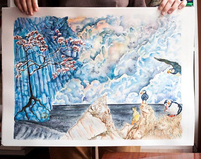 Cloudy Sky Art Blue Landscape Puffin Blue Watercolor Original Iceland Art Blue Watercolor Art Blue Wall Art Blue Painting Blue Art Picture