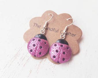 Ladybird earrings. Red Ladybug dangle earrings. Glitter ladybird earrings. Ladybug insect jewellery jewelry