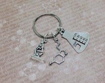 Serotonin Keyring, Molecule Keychain, Science Keychain, Serotonin Molecule, Science Bag Charm, Biology Gift, Chemistry Zipper Charm