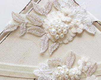 Bridal Garter , Wedding Garter, Lace garter , Vintage style Garter,  Flower Garter ,Ivory Cream  Gold Garter , Stretch Lace Garter Set