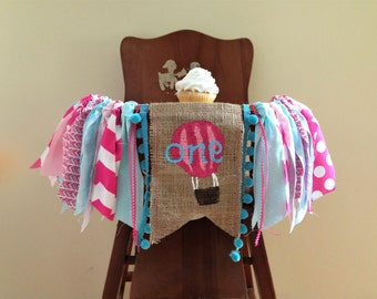 Hot Air Balloon High Chair Banner/ Cake Smash / First Birthday Photo Shoot Prop/ Up Up and Away Travel Theme / Pink Blue