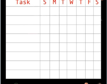 WWE Superstars Kids Chore Chart Printable Instant Download