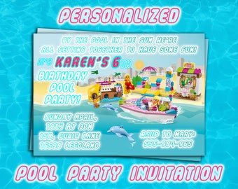 LEGO GIRL Pool party INVITES,Personalized Printable invitations,Lego Party invite,Pool Party supplies,Digital download printables,lego party