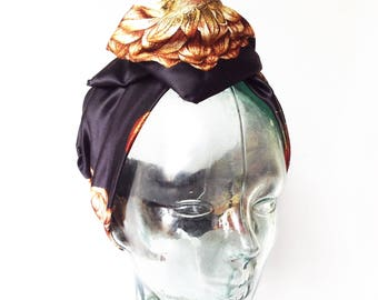 Floral wire headband pure silk. Gipsy turban bandana with bow. Under 30 dollar gift for her. Vintage look accessories. Hairpece with bow.