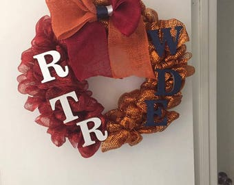 House Divided Alabama Auburn Collegiate football wreath
