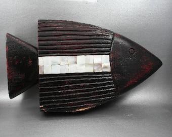 Carved Wood Fish, Tribal Carving, Abalone Shell, Beach House Decor, Gift for Fisherman, Fishing Gift, Bathroom Decor, Tiki Decor, Nautical