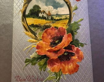 Antique 1900s Floral Postcard, Poppy Postcard, Romantic Postcard, California Flower, Flower Card, Vintage Birthday Card, California Poppy