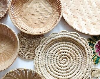 Woven basket wall set of 12, cluster basket gallery