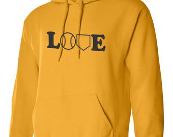 Baseball Love Hoodie-Custom Black Love w/ baseball and home plate desgin