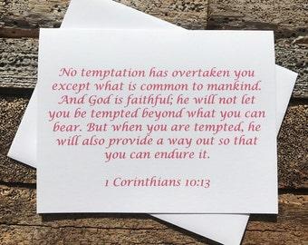 1 Corinthians 10:13 Bible Verse Note Card