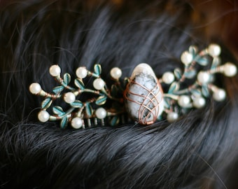 Robin Hood Fairy Nymph Bridal Hair Comb with Moonstone and Faux Pearls