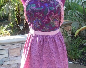 Apron Vintage Pink and Maroon Floral Bodice Kitchen Dress