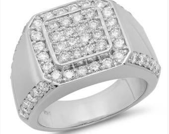 14k, White Gold, Mens Ring, Mens Wedding Ring, Mens Fashion Ring, Rings, Mens Jewelry, Jewelry Rings, Mens Diamond Ring, Diamond Rings