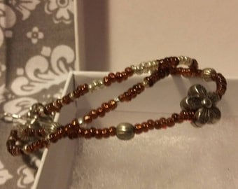 brown and silver beaded bracelets/stacking bracelets