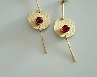 Gold Brass Stud Earrings with Red Chalcedony