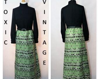 VINTAGE 1960's 1970's Black Green Metallic GEOMETRIC MAXI Dress. Size Uk 10-12. Boho, Disco, Mod, Retro, Elegant, Evening, Occasion, Chic