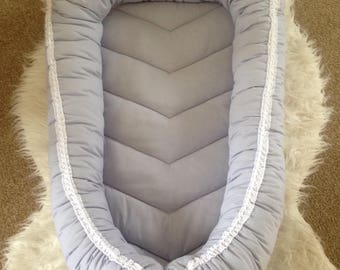 Babynest - All Grey with White Crochet trim and bow.