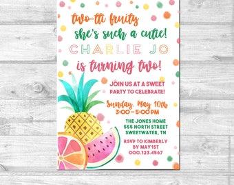 Tutti Frutti Invitation | Tutti Frutti Birthday Invitation | Two-tti Frutti | Tropical Birthday | Tropical Party | Tutti Frutti Party