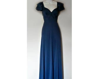Vintage Maxi Dress 70s London Boutique Formal- Size S, Small Sm, Blue Navy, Maxidress Fluttery Sleeves, Flutter Scoop, Sweetheart Neckline