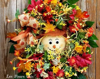 Fall Scarecrow Wreath - Scarecrow Wreath - Fall Door Wreath -Fall Scarecrow Door Hanger- Fall Wreath- Fall Wreath For Door -Fall Door Wreath