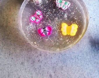 Necklace/resin/waxed cord/butterflies/glitter/summer/spring