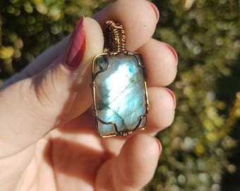 ON SALE Blue/Teal Labradorite Pendant wrapped in Brass tone wire!