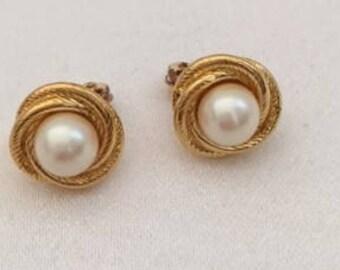 Vintage Monet Faux Pearl and Gold Tone Clipon Earrings, Vintage Earrings, 1960s