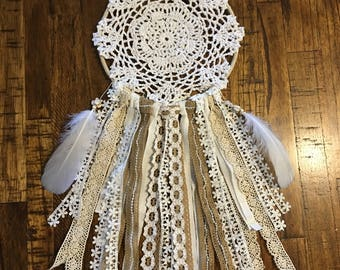 Lace and Crochet Doily Dream Catcher