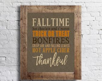 Burlap Hopsack Fall Words Poster- Autumn - 11x14 - Fall Home Decor Poster - Thanksgiving Fall Decor
