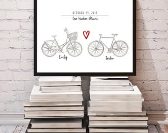 Custom Bicycle Wedding Sign, Chalkboard Wedding Sign, Wedding Gift for Bride From Mom, Anniversary Sign, Home Decor Wedding Print Sign Art