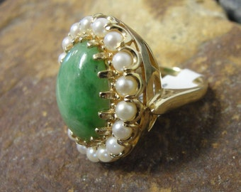 Victorian Design 14k Yellow Gold Jade & Pearl Statement Ring ~ U.S. Size 9.25