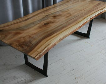 Reclaimed Wood Dining Table Trestle Style with Metal Legs