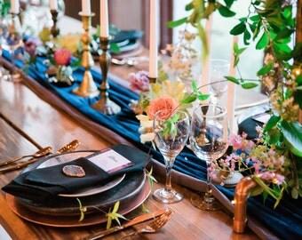 Navy Velvet Tablecloth | Velvet Table Runner | Velvet table cloth | velvet table linens | Velvet Overlay | Wedding Table Cover | table linen