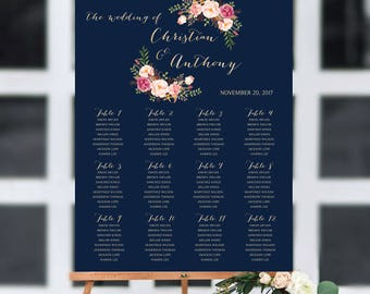 Navy seating chart, wedding seating chart poster, Wedding seating chart alphabet, Wedding seating chart template, seating chart, #103