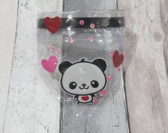 Valentines Panda Clear Dog Bandana, dog clothes, dog accessories, slip on bandana, pet accessories, detachable bandana, collar accessoryL