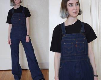 1970s Levis overalls // vintage overalls // Levis denim overalls // orange tag