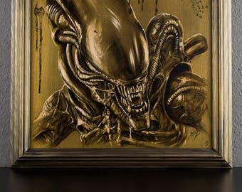 Alien, Xenomorph, acrylic paint on canvas, 47x47cm, SINGLE PIECE - Aliens Movie - Aliens - Giger - HR Giger - Xenomorph - Science Fiction