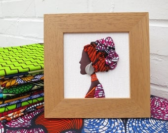 African Woman - Miniature Portrait - Handmade with African fabric